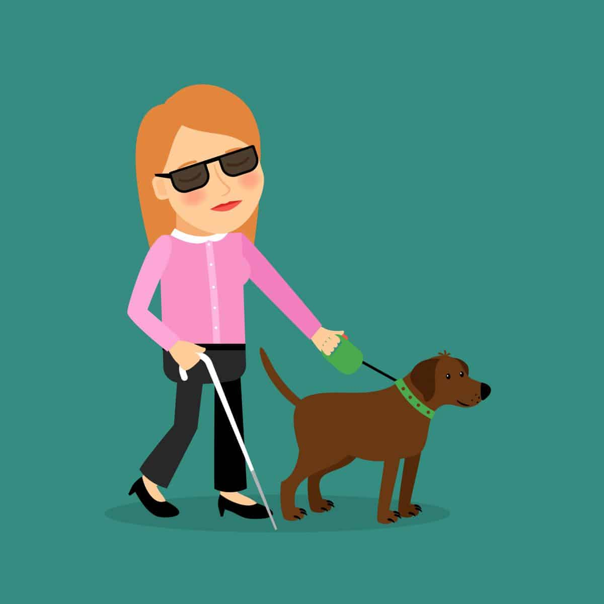 Prawa osoby niewidomej poruszającej się z psem przewodnikiem